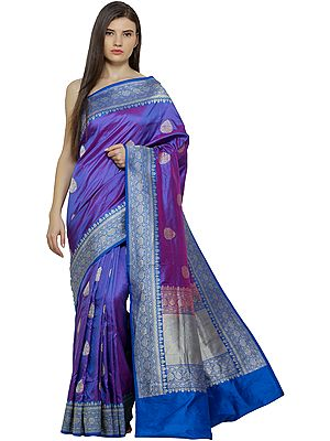 Purple-Opulence Handloom Sari from Banaras with Woven Bootis and Florals in Zari Thread