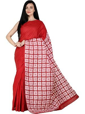 Bittersweet-Red Lukhnavi Chikan Sari with Hand-Embroidered Flowers and Applique Work
