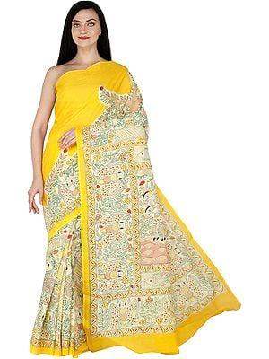 Lemon-Chrome Sari  with Printed Madhubani Folk Motifs All-Over