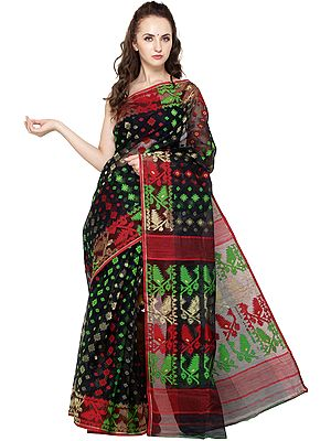 Phantom-Black Jamdani Sari from Bangladesh with Woven Bootis All-Over