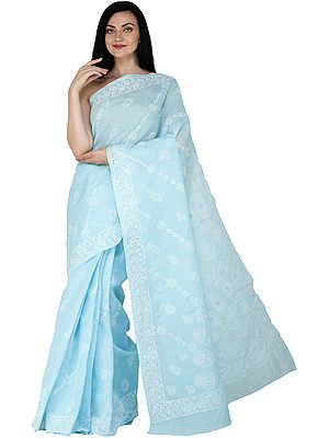 Norse-Blue Lukhnavi Chikan Sari with Hand-Embroidered White Flowers and Paisleys