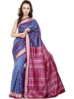 Cendre-Blue Sambhalpuri Handloom Sari from Orissa with Ikat Weave