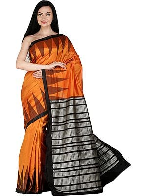 Dark-Cheddar Handloom Bomkai Sari from Orissa with Temple Border and Fishes Woven on Pallu