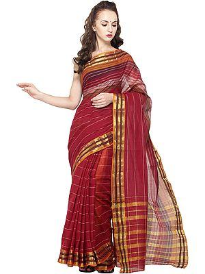 Brick-Red Mrignayani Sari from Andhra Pradesh with Zari Border and Stripes