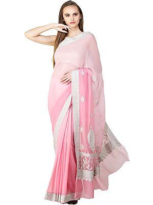 Sachet-Pink Sari from Kashmir with Silver Zari Thread Embroidered Paisleys