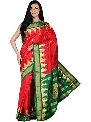 Rococco-Red Brocaded Uppada Sari with Zari Woven Temple Border and Bootis