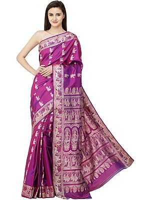 Sari with Gita Border and Pallu Depicting Images of Radha-Krishna (Fuchsia-Purple Baluchari)