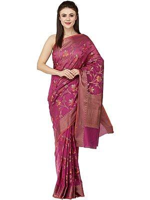 Kora-Cotton Sari from Banaras with Zari Thread Woven Bootis and Florals