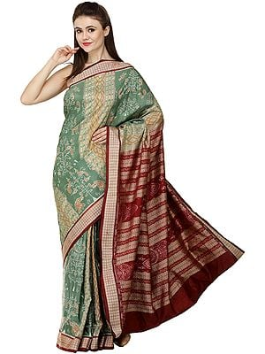 Frosty-Spruce and Maroon Sambhalpuri Handloom Sari from Orissa with Ikat Woven Peacocks and Elephants
