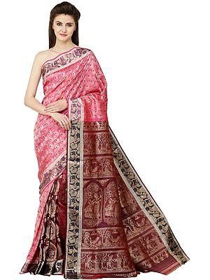 Radha and Krishna Fuchsia-Rose Zari-Woven Fusion Baluchari Sari from Bengal