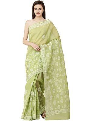 Lily-Green Lukhnavi Chikan Sari with Hand-Embroidered White Flowers and Paisleys