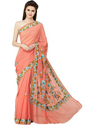 Peach-Amber Sari from Kashmir with Ari Embroidered Multicolor Flowers
