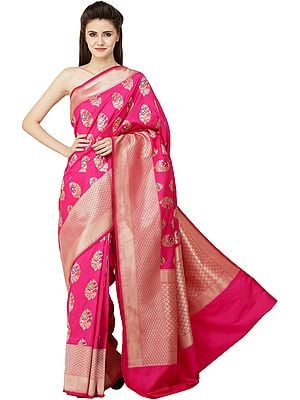 Brocaded Sari from Bangalore with Zari-Woven Florals and Bootis All-Over