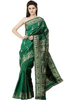 Dushyant-Shakuntala and Radha Krishna (Green-Lake Baluchari Love Sari)