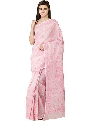 Rose-Shadow Lukhnavi Chikan Sari with Hand-Embroidered Pink Flowers and Paisleys