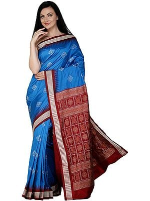 Brilliant-Blue Bomkai Handloom Sari from Orissa with Woven Bootis and Box Pallu