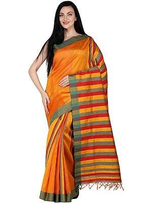 Mandarin-Orange Kosa Sari from Bengal with Woven Stripes on Pallu