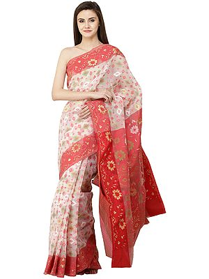 Bridal-Blush Dhakai Handloom Sari from Bangladesh with Woven Florals and Bootis All Over