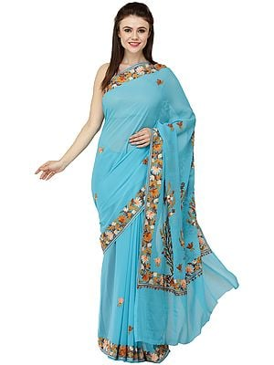 Hawaiian-Ocean Sari from Kashmir with Ari Embroidered Flowers All-Over