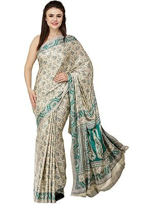 Beige Self-Weave Sari from Jaipur with Printed Florals and Paisleys All-Over