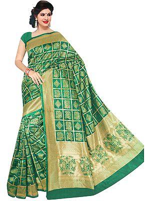 Bandhani Gharchola Sari with Zari Weave and Tie-Dye Motifs
