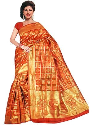 Bandhani Gharchola Sari with Zari Weave and Tie-Dye Motifs