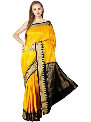 Radiant-Yellow and Black Uppada  Sari from Bangalore with Woven Bootis and Temple Border