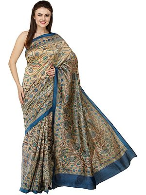 Deep-Water Sari with Printed Madhubani Motifs and Kohbar on Pallu