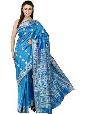 Mailbu-Blue Baluchari Sari from Bengal with Zari Woven Hindu Mythological Episodes from Mahabharata