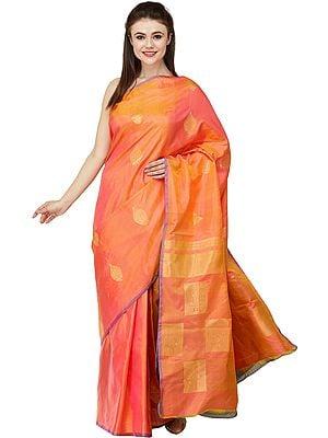 Camellia Uppada Sari from Bangalore with Zari-Woven Bootis All-Over