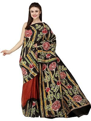 Caramel and Black Handloom Batik Sari from Madhya Pradesh with Printed Roses