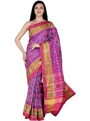 Royale-Lilac Handloom Paan Patola Sari from Patan with Ikat Weave