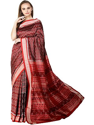 Deep-Claret Sambhalpuri Handloom Sari from Orissa with Ikat Weave and Temple Border