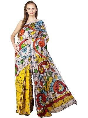 Multicolor Batik Sari from Madhya Pradesh with Printed Paisleys and Florals