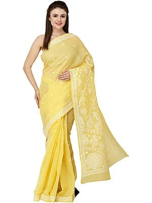 Empire-Yellow Lukhnavi Chikan Sari with Hand-Embroidered White Flowers and Paisleys