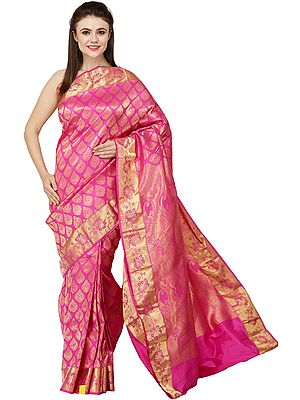 Very-Berry Brocaded Sari from Bangalore with Zari-Woven Bootis All-Over