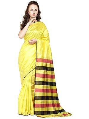 Yellow-Cream Kosa Sari from Jharkhand with Woven Stripes on Pallu