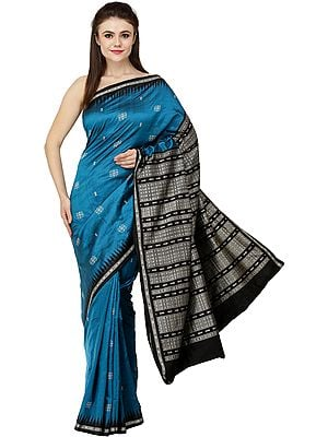 Celestial Handloom Bomkai Sari from Orissa with Temple Border and Fishes Woven on Pallu