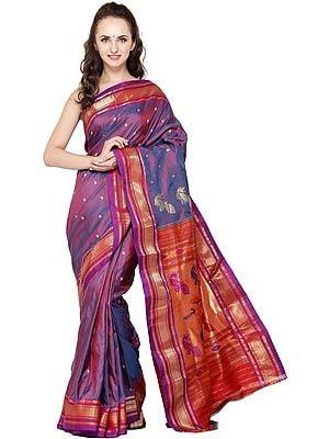 Lilac-Rose and Purple Paithani Sari with Hand-Woven Border and Peacocks on Pallu