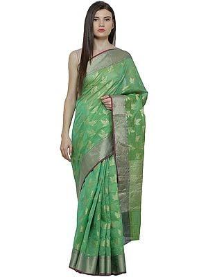 Kora-Cotton Sari from Banaras with Zari Thread Woven Bootis and Border