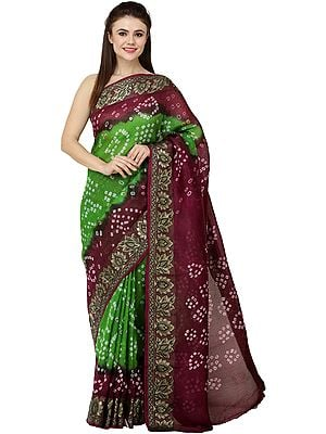 Vibrant-Green and Purple Bandhani Tie-Dye Sari from Gujarat with Zari-Thread Woven Bootis and Flowers