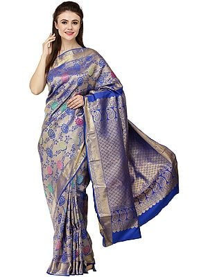 Dazzling-Blue Brocaded Sari from Bangalore with Woven Bootis and Florals All-Over