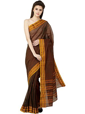 Plain Venkatagiri Sari from Andhra Pradesh with Zari Border
