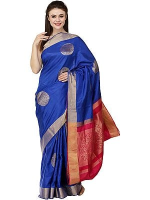 True-Blue Brocaded Uppada Sari from Bangalore with Hand-Woven Giant Bootis