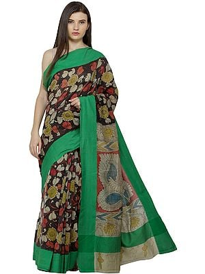 Mojave and Green Kalamkari Sari from Seemandhra with Painted Flowers and Peacocks