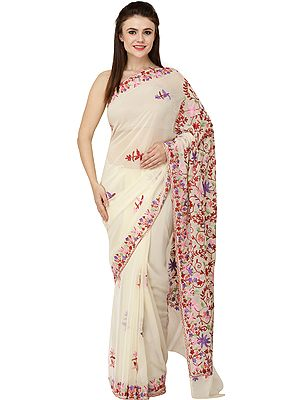 Vanilla-Cream Sari from Kashmir with Ari Embroidered Flowers All-Over