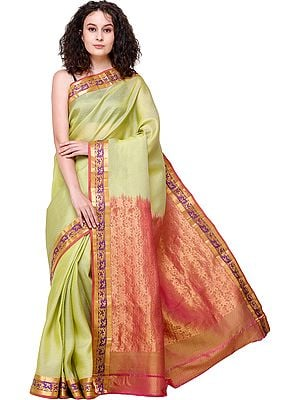 Linden-Green Brocaded Hadloom Kora Sari from Banaras with Diamond Weave and Zari Pallu