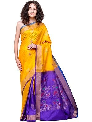 Saffron Uppada Sari from Bangalore with Zari-Weaved Flowers