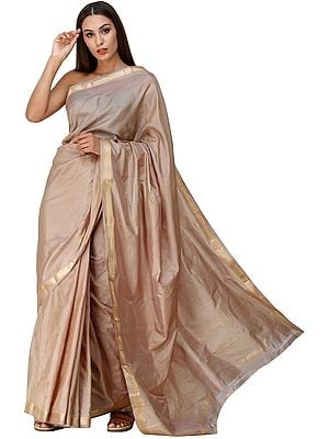 Plain Uppada Handloom Sari from Bangalore with Zari-Woven Border