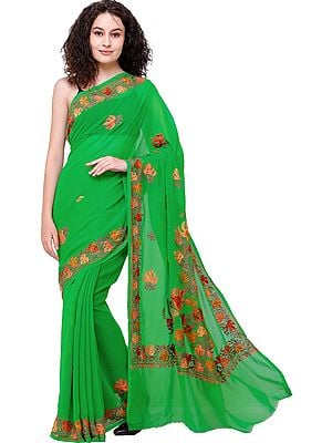 Fern-Green Sari from Kashmir with Ari Embroidered Flowers All-Over